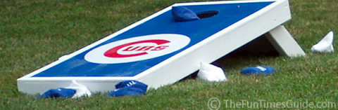 Cornhole boards with Chicago Cubs logo